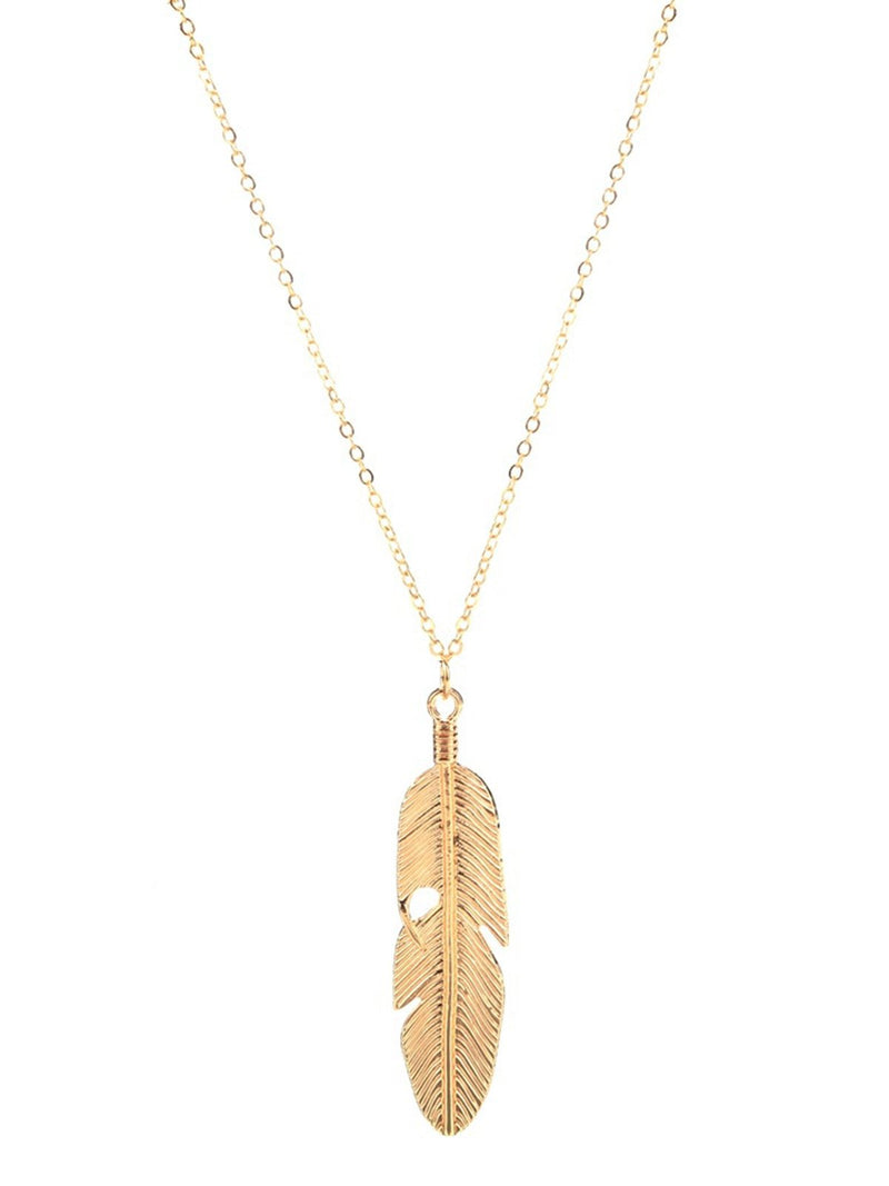 Women Feather Pendant Long Sweater Statement Vintage Chain Necklace