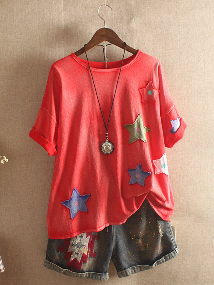 Cotton Short Sleeve Casual Patchwork Shirts & Tops