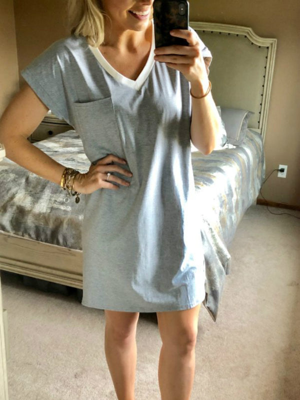 Gray Cotton Short Sleeve V Neck Dresses
