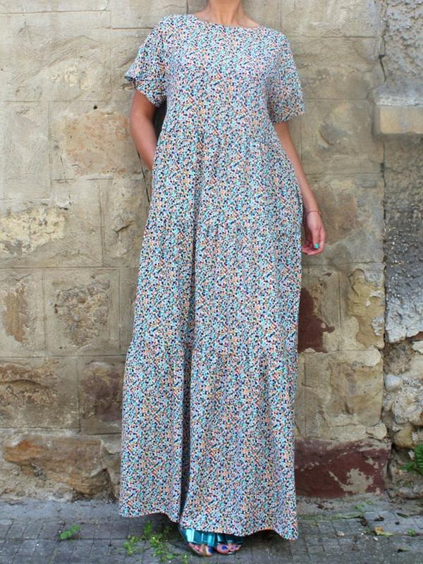 Light Blue Floral Round Neck Holiday Dresses