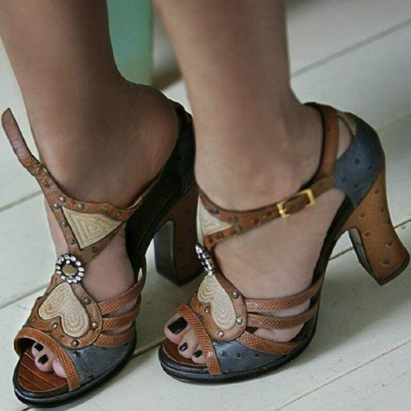 Brown Buckle Leather Summer Sandals