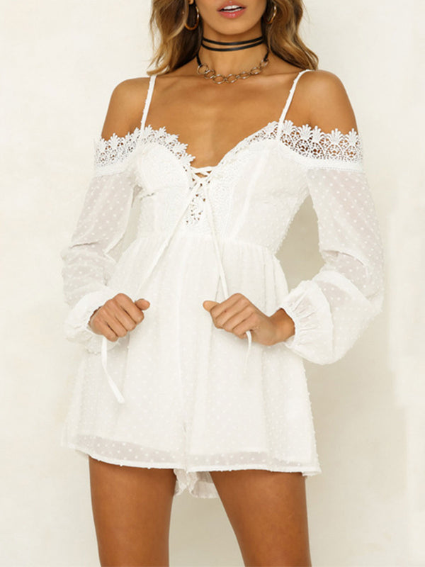 Off Shoulder Sexy Lace Mesh Sexy Party Jumpsuit