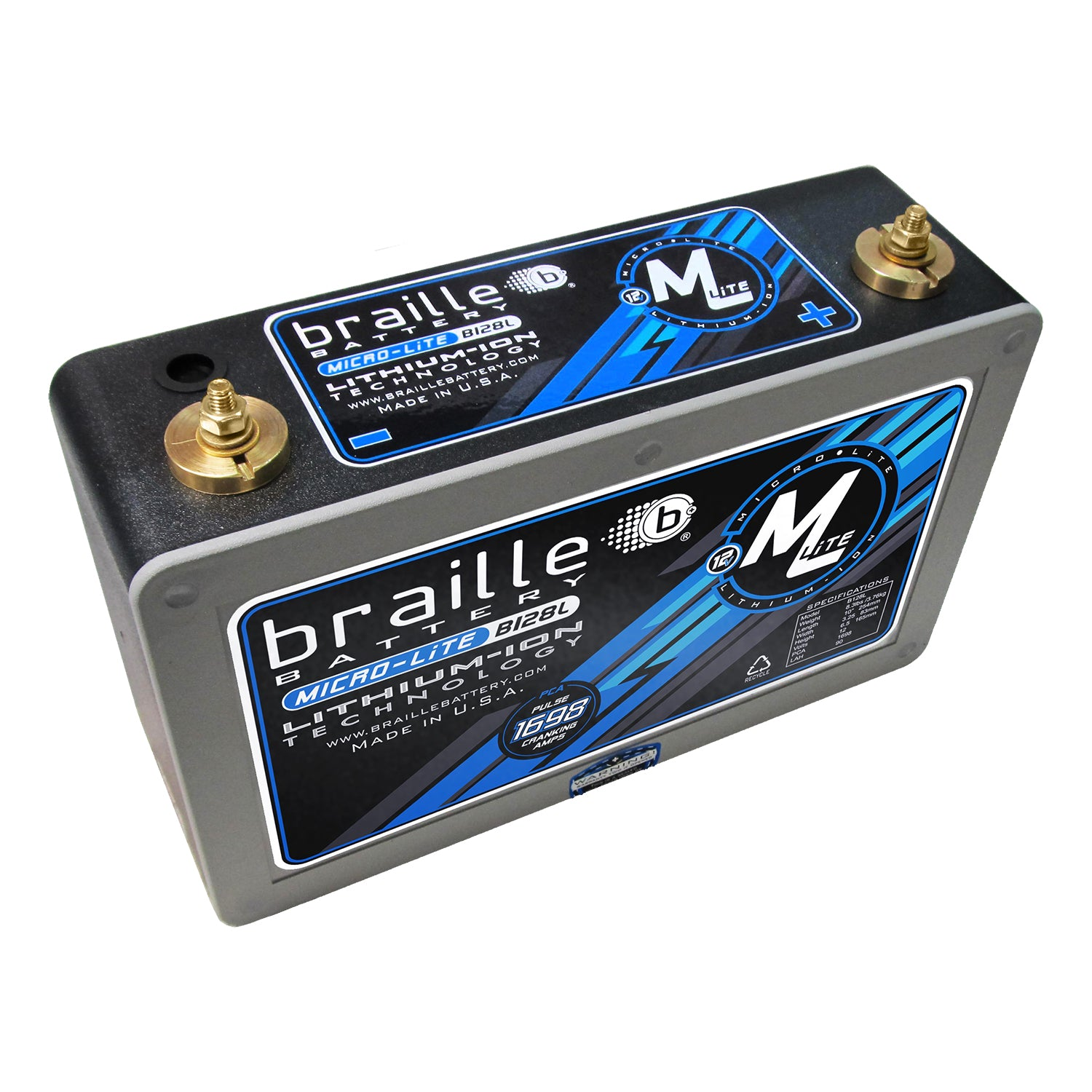 B128L-M6 - MicroLite B128L-M6 (metric M6 stud) lithium battery