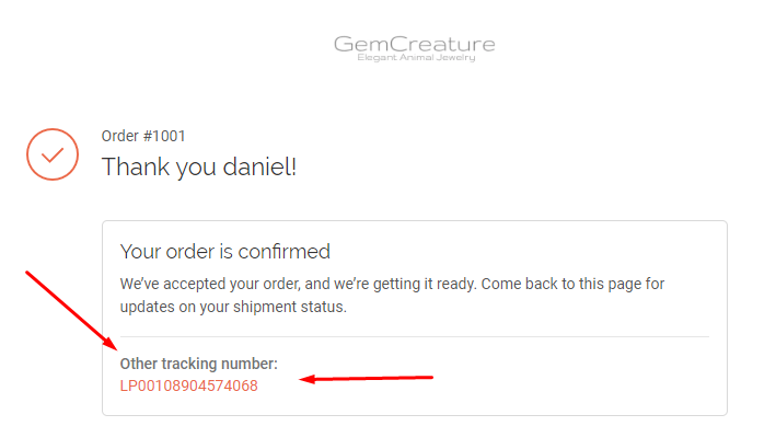 tracking number gemcreature