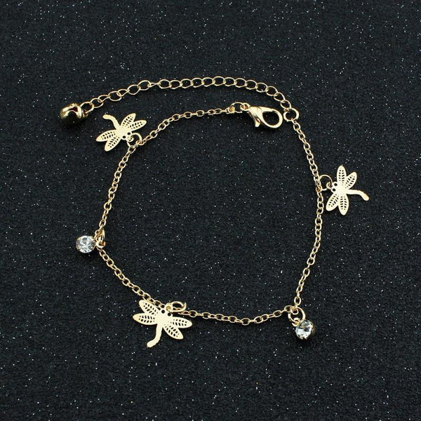 Gold Dragonfly Ankle Bracelet unique jewelry design GemCreature