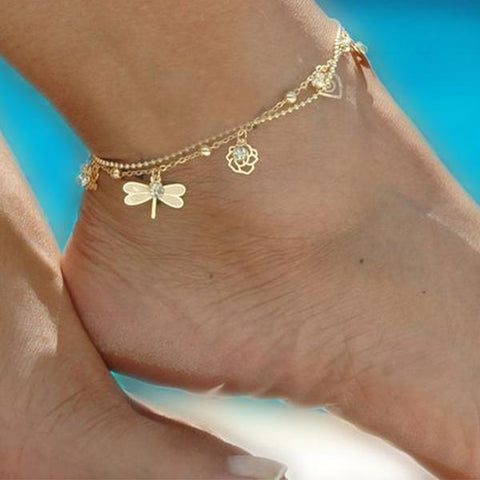 Gold Dragonfly Ankle Bracelet GemCreature