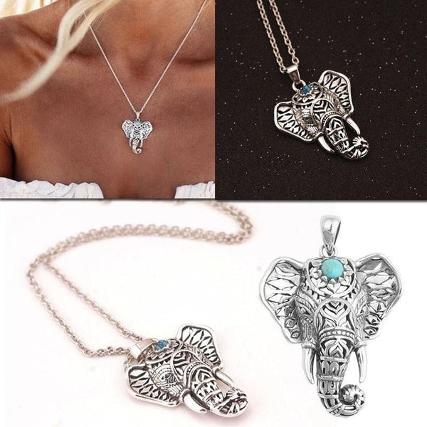 Bohemian blue stone Elephant Necklace unique jewelry design GemCreature