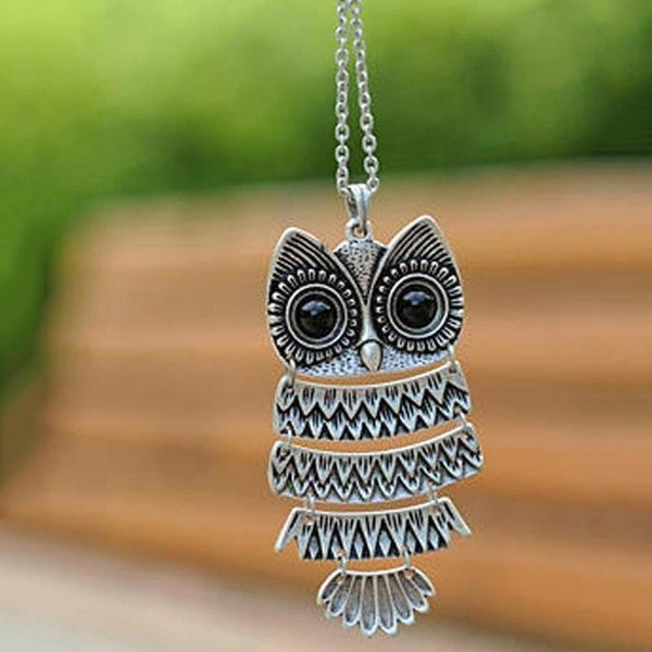 Vintage Owl Long Necklace unique jewelry design GemCreature