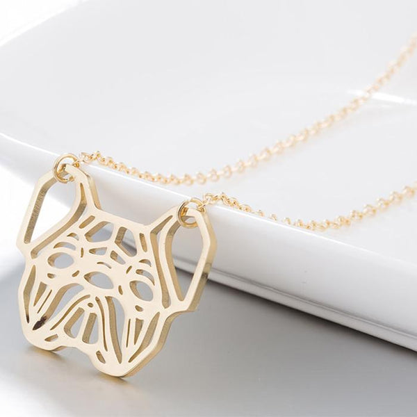 Geometric French Bulldog Necklace unique jewelry design GemCreature