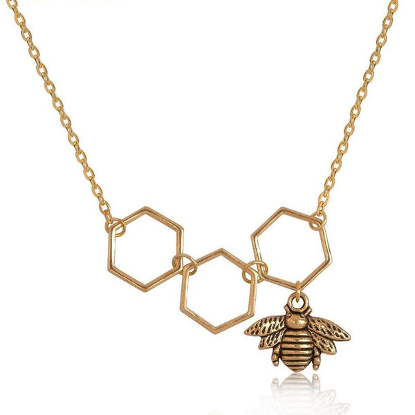 Hollow Honeycomb Bee Necklace unique jewelry design GemCreature