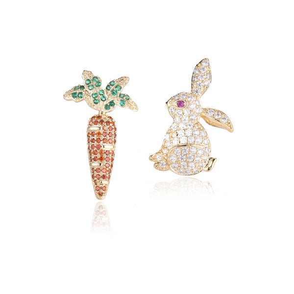 Carrot & Rabbit Stud Earrings