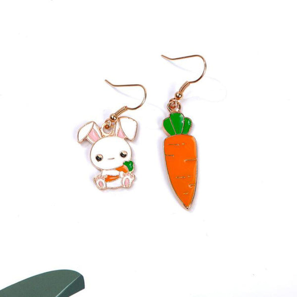 Cartoon Rabbit Carrot Earrings