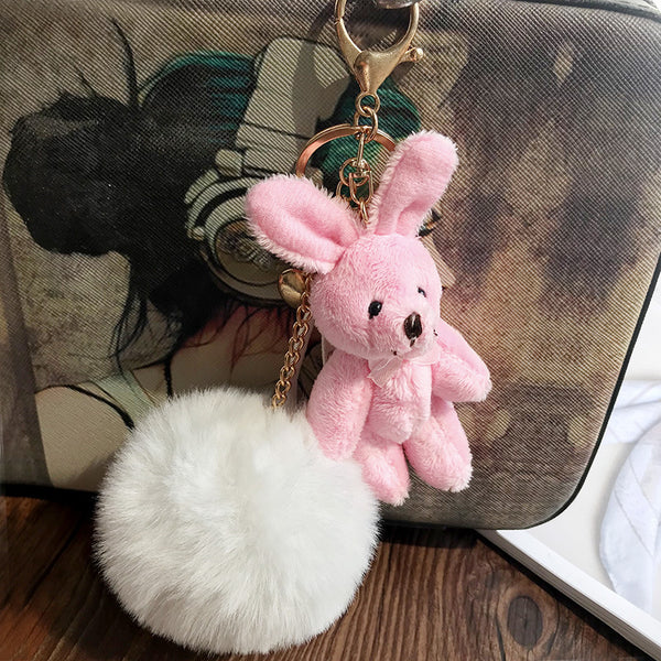 Pink Rabbit Fluffy Plush Keychain