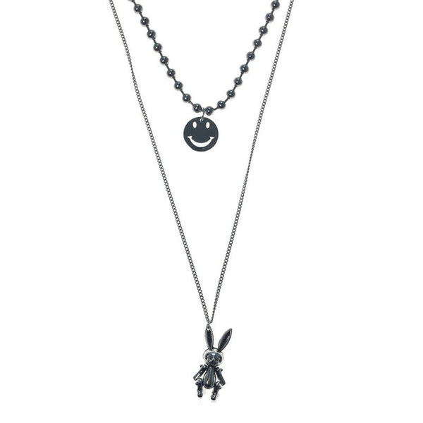 Silver Rabbit Smiley Necklace