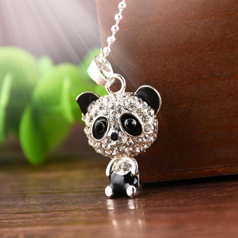 Panda Rhinestone Necklace unique jewelry design GemCreature