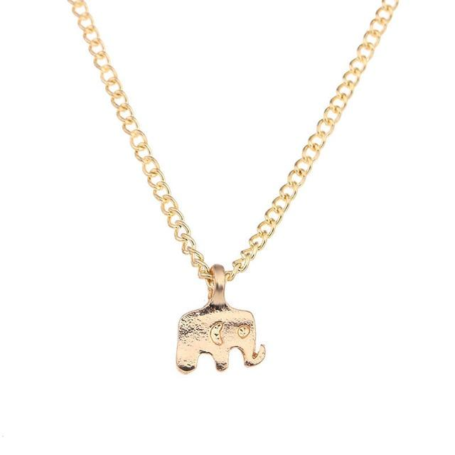 Elephant Gold Necklace Elegant Good Luck Charm unique jewelry design GemCreature