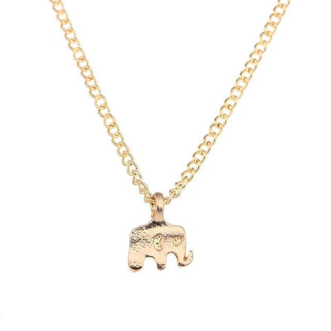 Gold Elephant Good Luck Charm Necklace GemCreature