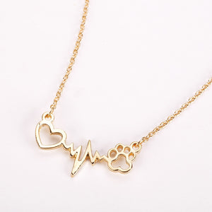 Paw & Heart Dog ECG Necklace gold