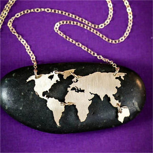 Wanderlust World Map Necklace unique jewelry design GemCreature