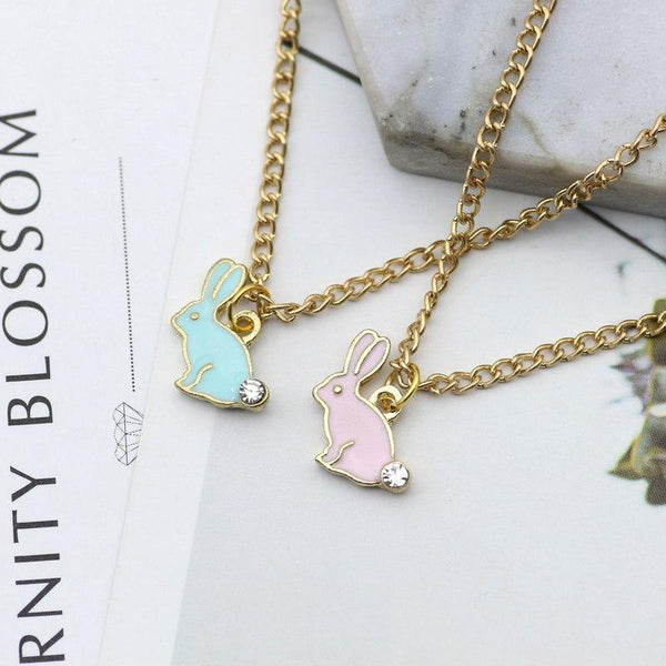 Trendy Bunny Rabbit Necklace unique jewelry design GemCreature