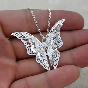 White Butterfly Necklace unique jewelry design GemCreature