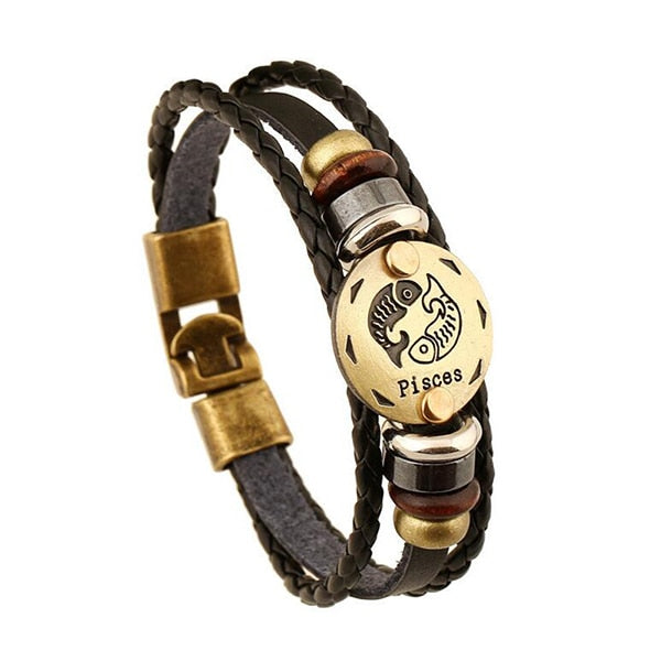 Leather Zodiac Sign Bracelet With Gold Plate unique jewelry design GemCreature