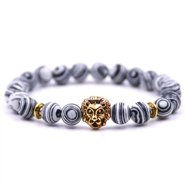 Gold Buddha Lion Head Lava Stone Bracelet unique jewelry design GemCreature