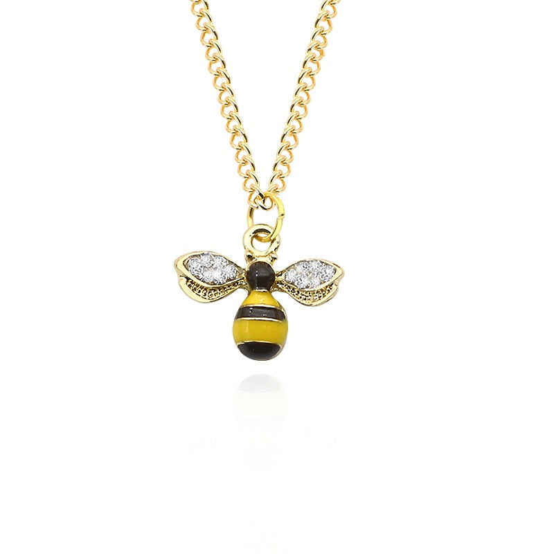 Rhinestone Honeybee Necklace unique jewelry design GemCreature