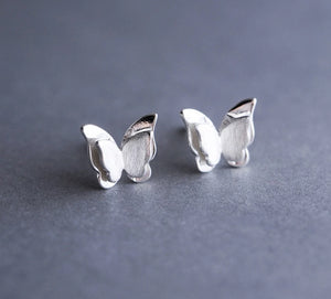 Silver Butterfly Stud Earrings unique jewelry design GemCreature
