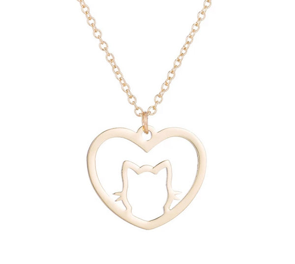 Heart Cat Necklace unique jewelry design GemCreature