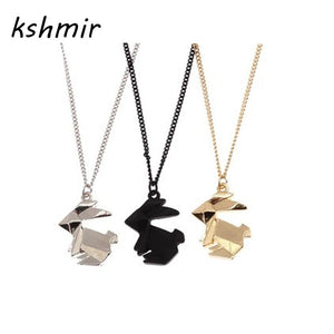 Geometric Origami Rabbit Necklace