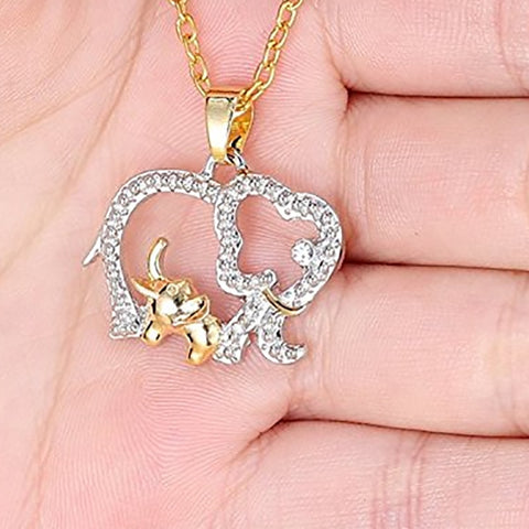 Crystal Elephant Gold Chain Necklace unique jewelry design GemCreature