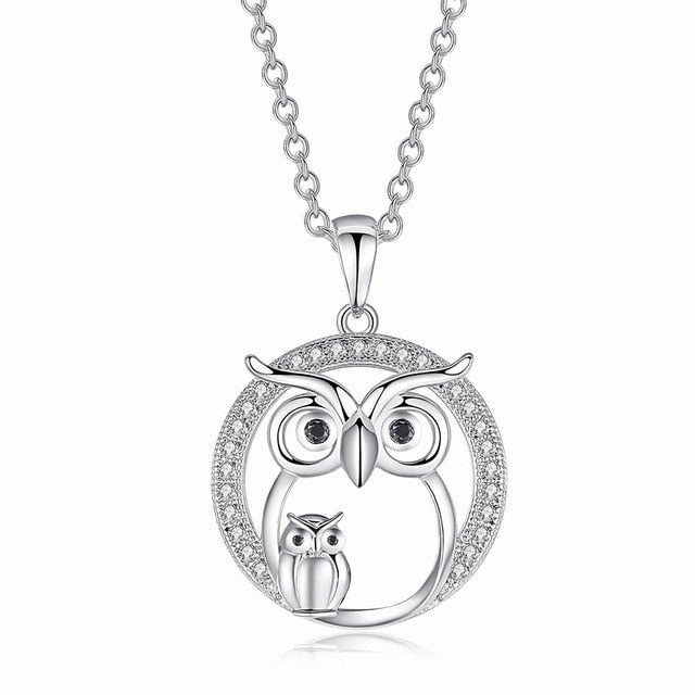 Round Sliver Owl Necklace unique jewelry design GemCreature