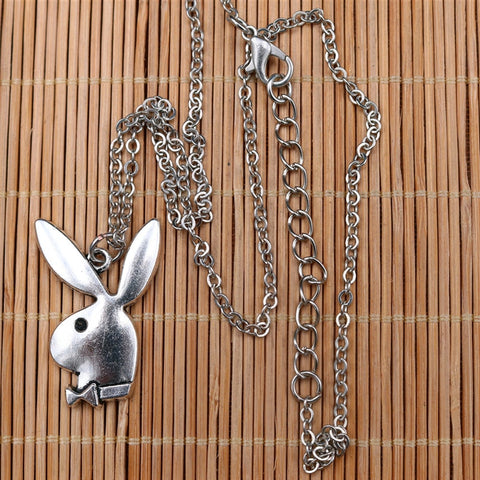 Silver Playboy Bunny Necklace unique jewelry design GemCreature