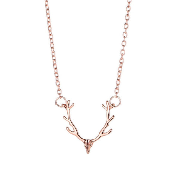 Minimal Deer Antler Necklace unique jewelry design GemCreature
