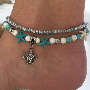 Handmade Vintage Starfish Sea Turtle Ankle Bracelet unique jewelry design GemCreature