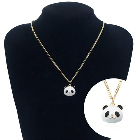 Gold White Panda Necklace unique jewelry design GemCreature