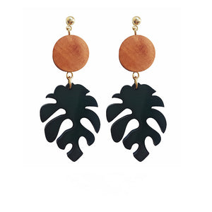 Monstera Teak Drop Earrings