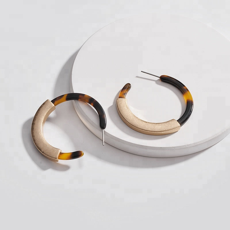 Tortoiseshell Gold Hoop Earrings