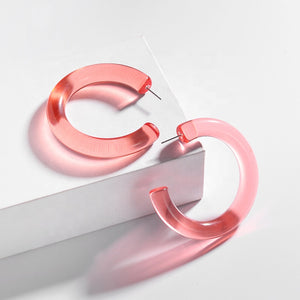 Retrospect Acrylic Hoop Earrings in Pink
