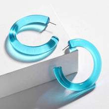 Load image into Gallery viewer, Retrospect Acrylic Hoop Earrings in Blue