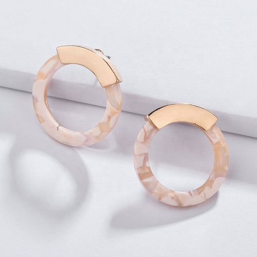 Acrylic & Gold Stud Earrings in Shell Pink
