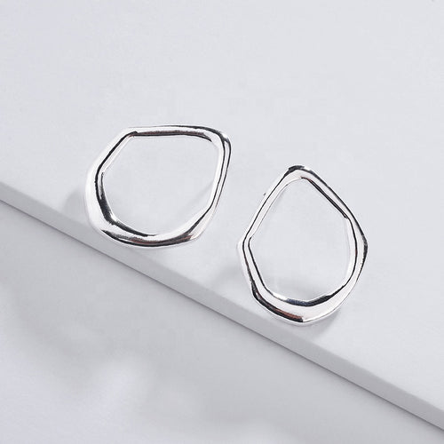 Awkward Circle Earrings in Silver