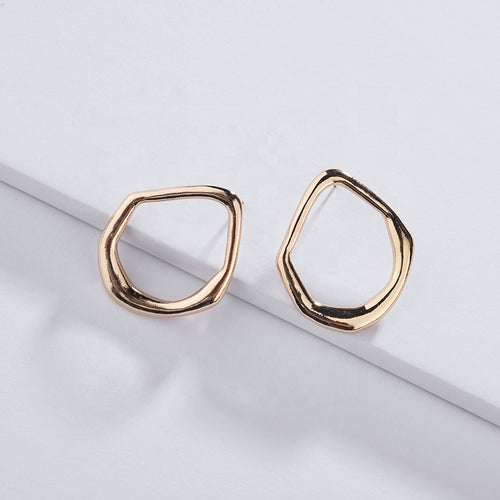Awkward Circle Earrings in Gold