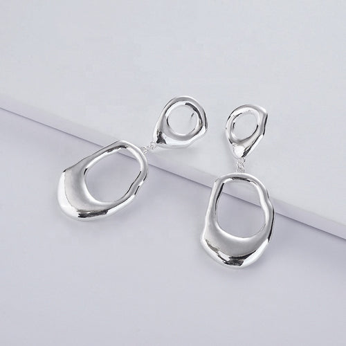 Awkward Circle Drop Earrings in Silver
