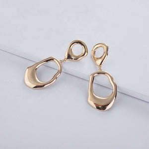 Awkward Circle Drop Earrings in Gold
