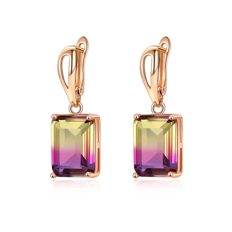 Ombre Gemstone Earrings in Tahiti Sunset