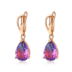 Gem Teardrop Earrings in Royal Night