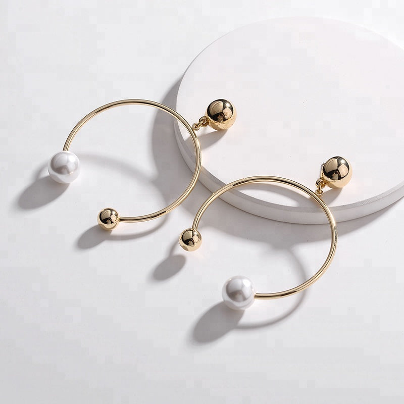 Pearl and Circle Drop Earrings