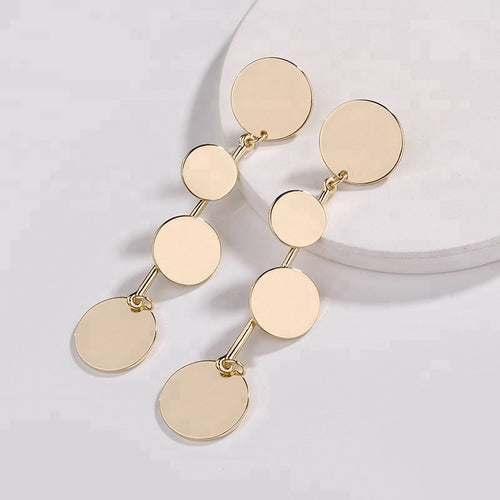 Circular Drop Earrings in Gold
